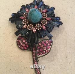 Vintage Lawrence VRBA Blue Stone Rhinestone Flower Runway Large Brooch Pin
