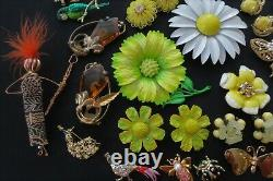 Vintage Lot Enamel Flower BroochesButterfliesEarringsBirdBroochesPeacocks