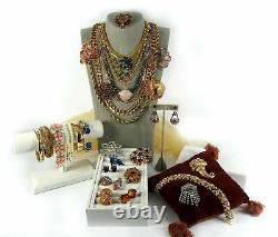 Vintage Lot Necklace Brooch Bracelet Earrings Rhinestone Costume