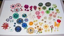 Vintage Lot of 50+ Enamel Metal Flower Brooches Pins, Earrings Excellent