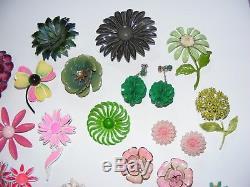 Vintage Lot of 50+ Enamel Metal Flower Brooches Pins