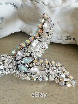Vintage MERMAID rhinestone NORCREST jewelry plaque OMG! Brooch Earrings Bling