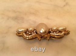 Vintage MIRIAM HASKELL Faux Pearl Seed Rhinestones Gold Tone Pin Brooch