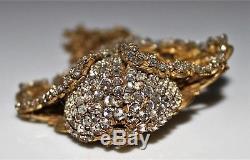 Vintage MIRIAM HASKELL Filigree Rose Montee Rhinestone Chain Tassel Brooch