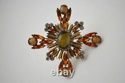 Vintage Maltese Cross Brooch Pin Pendant, Schreiner jewelry 1960s