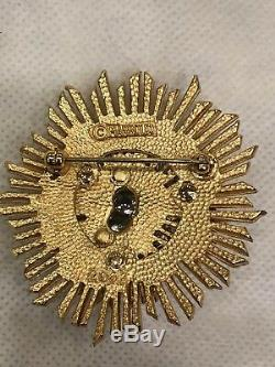 Vintage Marboux By Marcel Boucher Gold Tone Crystal Starbust Brooch Pin