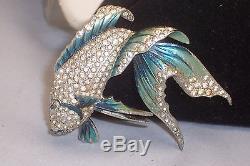Vintage Marcel Boucher Blue Enamel Rhinestone Big Fish Brooch