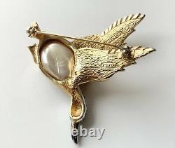 Vintage Marcel Boucher Flying Duck Rhinestone Brooch 7926 P Rare