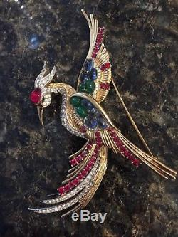 Vintage Marcel Boucher Goldtone Cabochon Rhinestone Bird of Paradise Brooch Pin