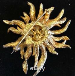 Vintage Marcel Boucher Starburst Flower Baroque Style Pearl Brooch Pin