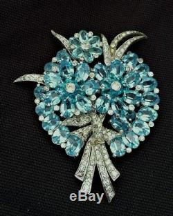 Vintage Mazer Aqua Blue & White Rhinestone Brooch