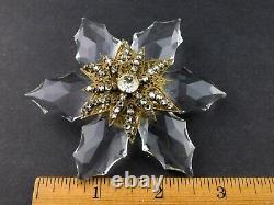 Vintage Miriam Haskell Crystal Petal Flower Brooch Rhinestone Pin Missing Stone
