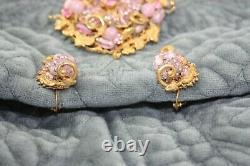 Vintage Miriam Haskell Gold Floral Filigree Pink Rhinestone Bead Brooch Earrings