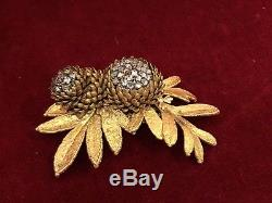 Vintage Miriam Haskell Goldtone Crystal Rhinestone Leaf & Pinecone Pin Brooch