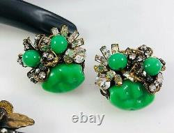 Vintage Miriam Haskell Jade Green Glass Pearl RS Large Pin Brooch & Earrings Set