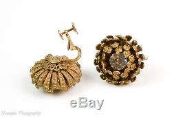 Vintage Miriam Haskell Rhinestone Brooch Earrings Set Demi Parure Signed
