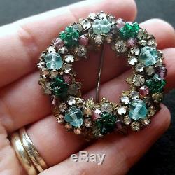 Vintage Miriam Haskell Rhinestone Glass Wreath Circle Pin Brooch