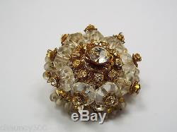 Vintage Miriam Haskell Round Clear Crystal Rhinestone Brooch