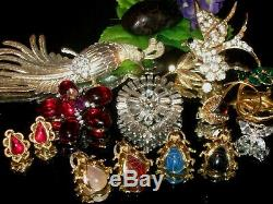 Vintage Mixed Estate Jewelry Lot Germany Rs Juliana Scarab Bug Brooch Pin Sc Cab