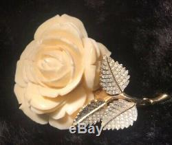 Vintage Nettie Rosenstein Ivory Resin Rose Flower Brooch/Pin