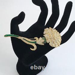 Vintage Nolan Miller Carnation Flower Pin Brooch Crystal Rhinestone Enamel
