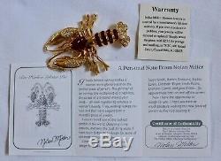 Vintage Nolan Miller Red Rhinestone Bar Harbor Lobster Pin Brooch & Charm Set 2