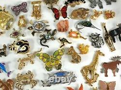 Vintage Now Brooches Pins Brooch Lot Enamel Rhinestone Animals Estate Costume #A