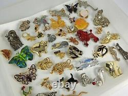 Vintage Now Brooches Pins Brooch Lot Enamel Rhinestone Animals Estate Costume #B