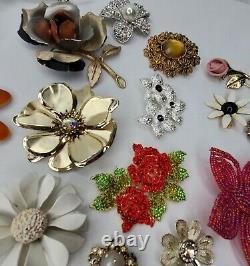 Vintage Now Flower Brooch 75 Piece Lot Enamel Metal Rhinestones Lucite Brooches