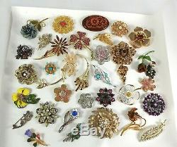 Vintage Now Jewelry Brooches Pins Brooch Lot Costume Enamel Rhinestone Flowers B