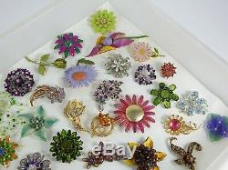 Vintage Now Jewelry Brooches Pins Brooch Lot Costume Enamel Rhinestone Flowers C