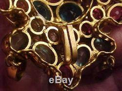 Vintage Original By Robert multi-color rhinestone pin / brooch /pendant