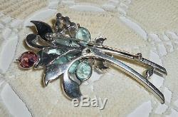 Vintage PENNINO Signed Rhinestone Flower Brooch Pin Bezel Set Crystal Baguette