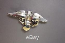 Vintage Pave Rhinestone American Eagle Patriotic Bird Brooch Pin Figural