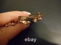 Vintage Pennino Jewelry Brooch Sterling Pin Pink Clear Rhinestones 3 w 2 1/4 h