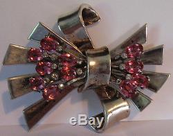 Vintage Pennino Sterling Silver Pink Rhinestone Dazzle Retro Bow Pin Brooch