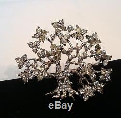 Vintage Pennino Sterling Silver Rhinestone Cherry Blossom Tree Pin Brooch TLC