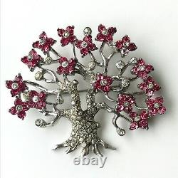 Vintage Pennino Sterling Tree Brooch Pink Rhinestone Flower Branches Signed Pin