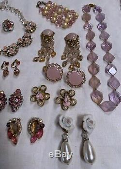 Vintage Pink Rhinestone Jewelry Lot Brooch Necklaces Earrings Bracelets Signed