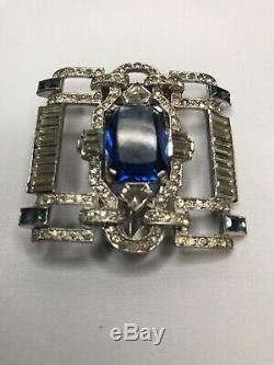 Vintage R. Derosa Signed Blue Rhinestone Fur Clip Brooch