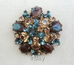 Vintage REGENCY SAPHIRET GLASS Rhinestone Pin Brooch