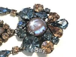 Vintage REGENCY Saphiret Blue Topaz Rhinestone Cabochon Dangle Brooch