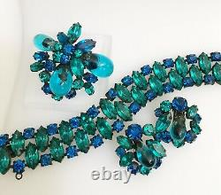 Vintage REGENCY Turquoise Blue Rhinestone Poured Glass Brooch Bracelet Earrings