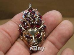 Vintage REJA Goldtone Red Marquise Glass & Rhinestone Sprite Pixie Pin Brooch 2