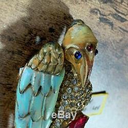 Vintage REJA Sterling Rhinestone Enamel Vulture Brooch OUTSTANDING