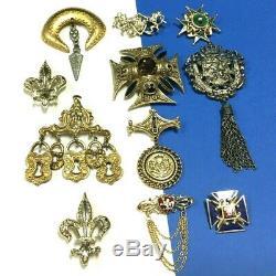 Vintage RENAISSANCE Heraldic BROOCH LOT Signed Silver & Gold Fleur de Lis AA96ZC