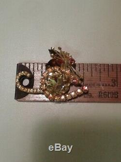 Vintage Rare D&E Juliana Rivoli Rhinestone Cat Brooch Pin Kitten Fall Colors