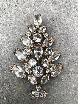 Vintage Rare EISENBERG ICE 1940s Clear Crystal Rhinestone Christmas Tree Brooch