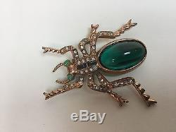 Vintage Rare Huge Jelly Belly Rhinestone Coro Craft Spider Brooch Pin