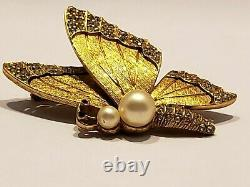 Vintage Rare Signed, Ciner Butterfly Brooch Rhinestones Open Work, Faux Pearls